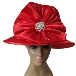 Red dress satin hat
